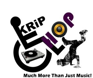 Krip Hop Nation Logo - A wheelchair with a turntable in the wheel, a person breakdancing, and the words Krip Hop in black and purple